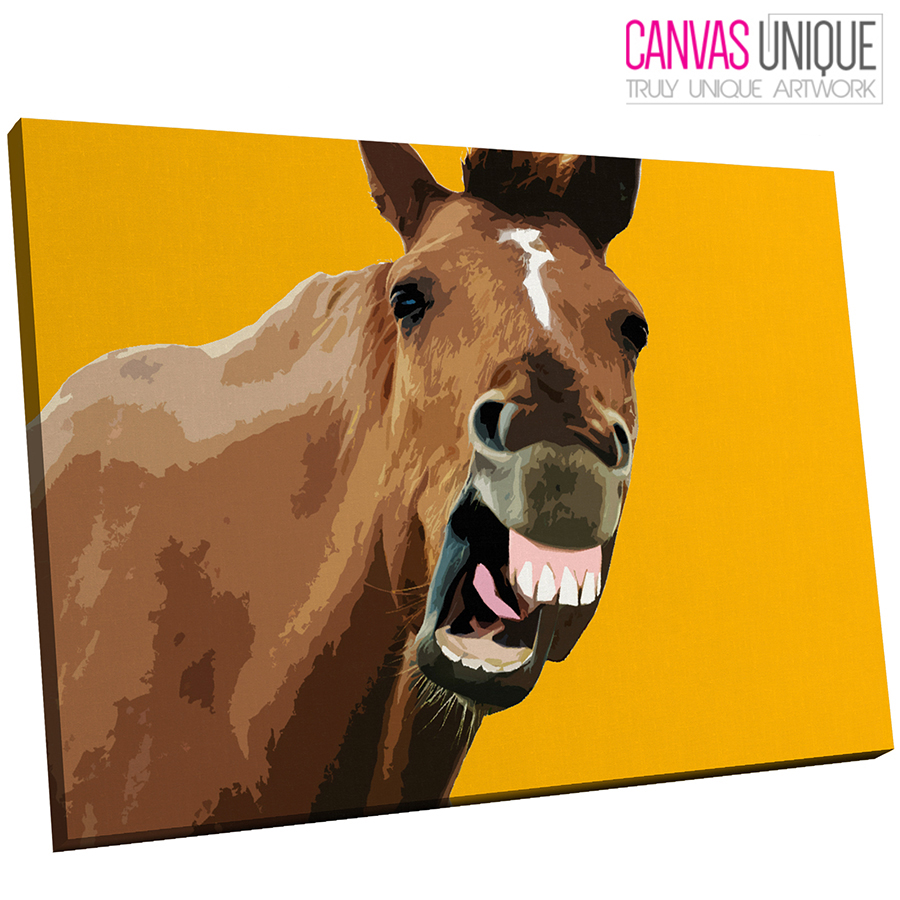 A197 Gelb horse popart  braun Animal Canvas Wall Art Framed Picture Print