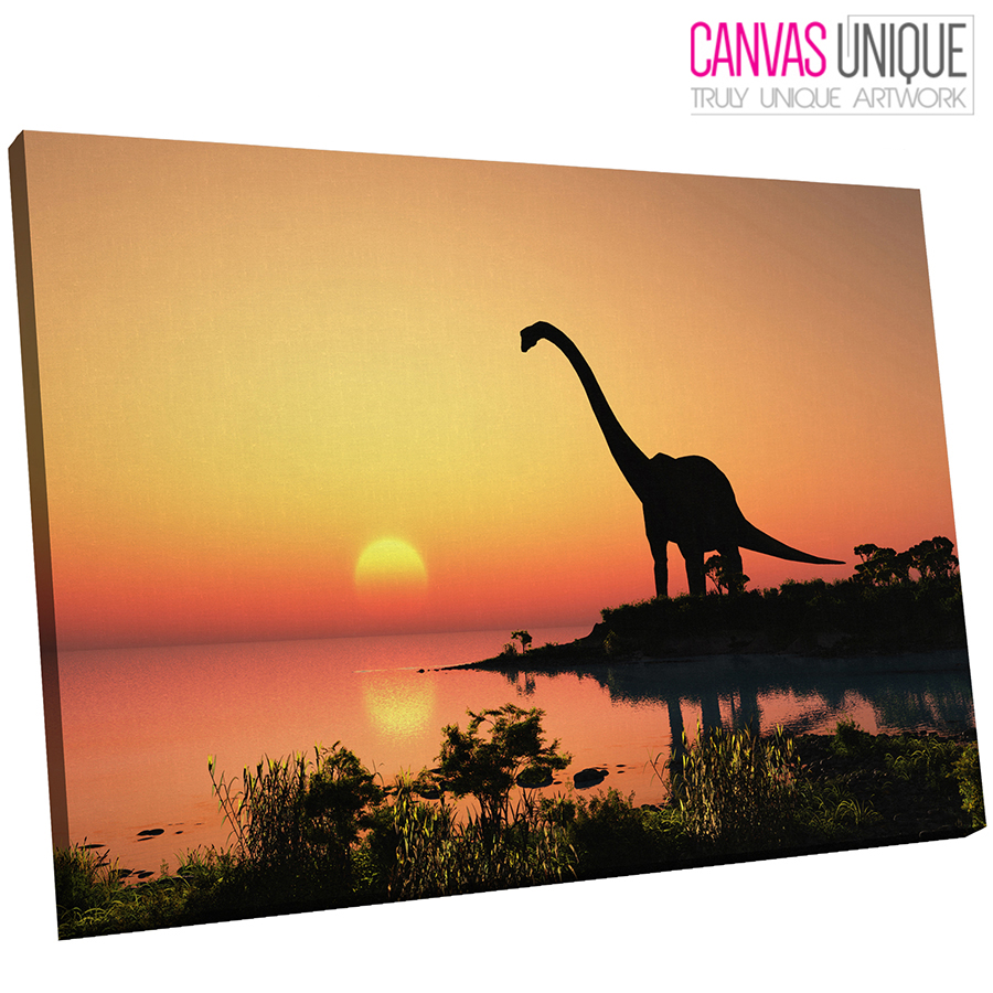 A212 sunset dinosaur landscape Animal Canvas Wall Art Framed Picture ...