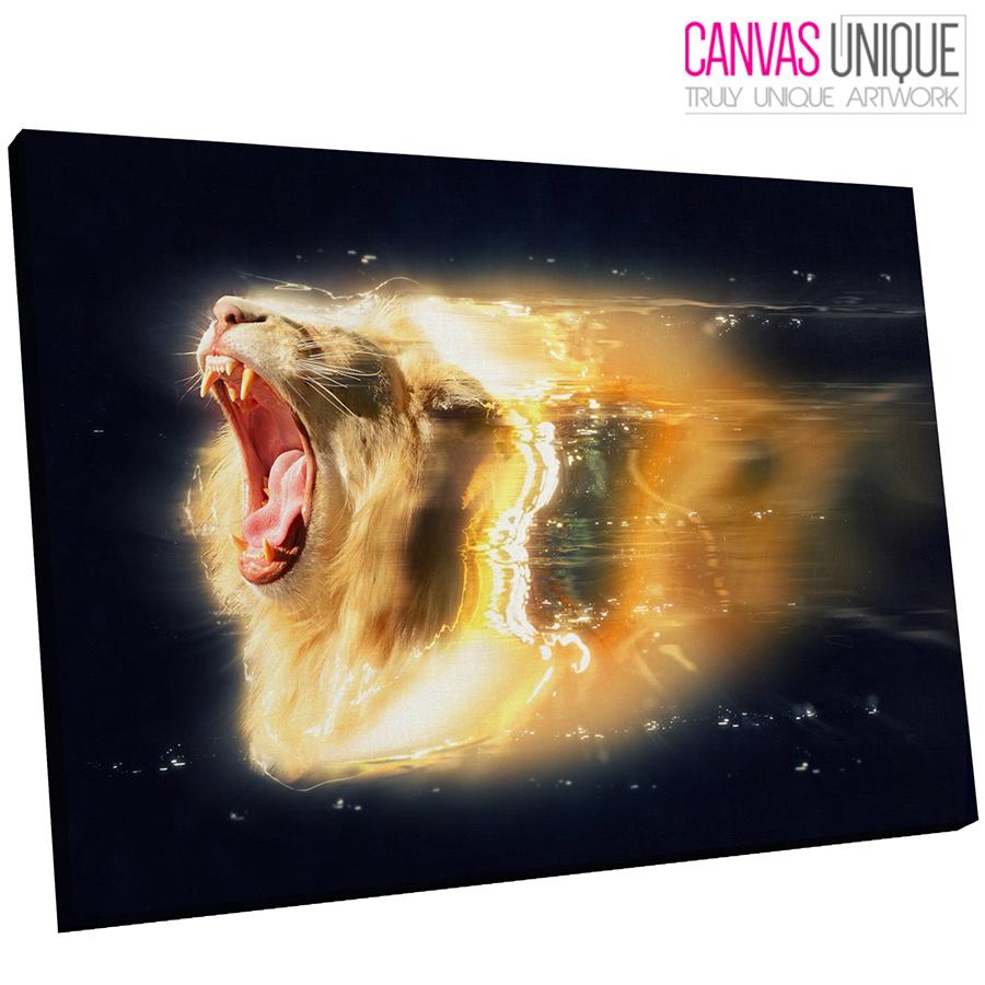 A425 AFRICAN LION Gold Lighting Roar Animal Canvas Wall Art Framed ...