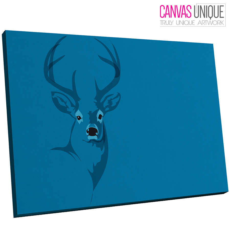 A477 Blau Stag Silhouette Abstract Animal Canvas Wall Art Framed Picture Print