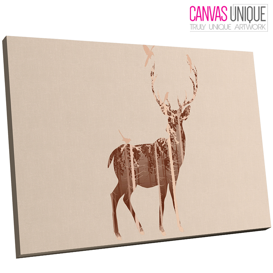 A483 braun Beige Watermark Deer Stag Animal Canvas Wall Art Framed Picture Print