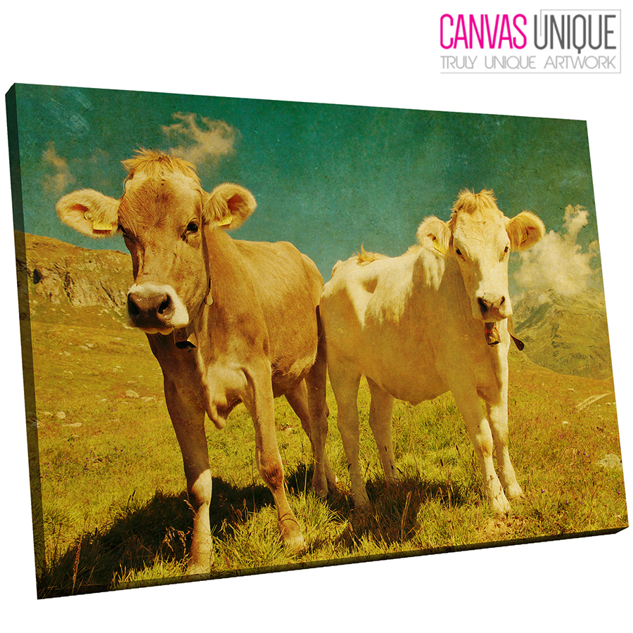 A643 Gelbaged Paint braun Cows Animal Canvas Wall Art Framed Picture Print