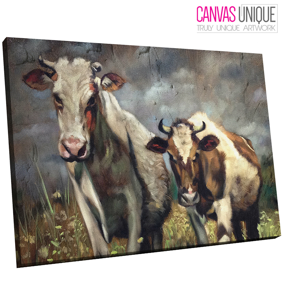 A648 Rustic Effect Farmyard Cows Animal Canvas Wall Art Framed Picture Print