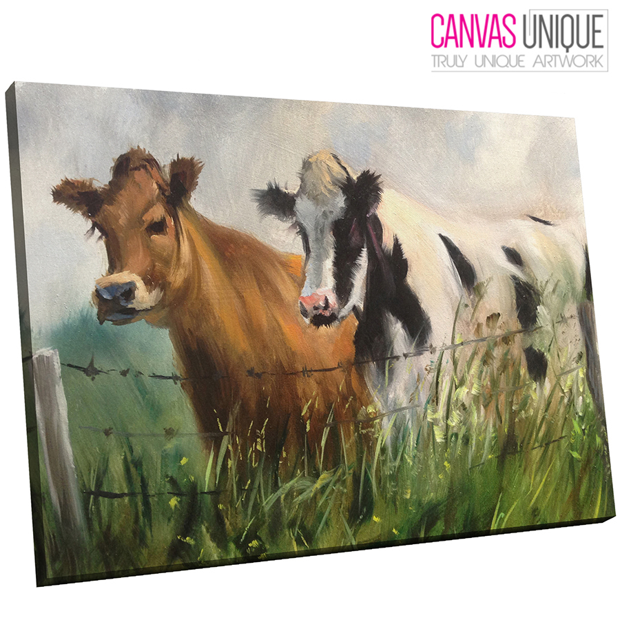 A649 Rustic Effect Farmyard Cows Animal Canvas Wall Art Framed Picture Print