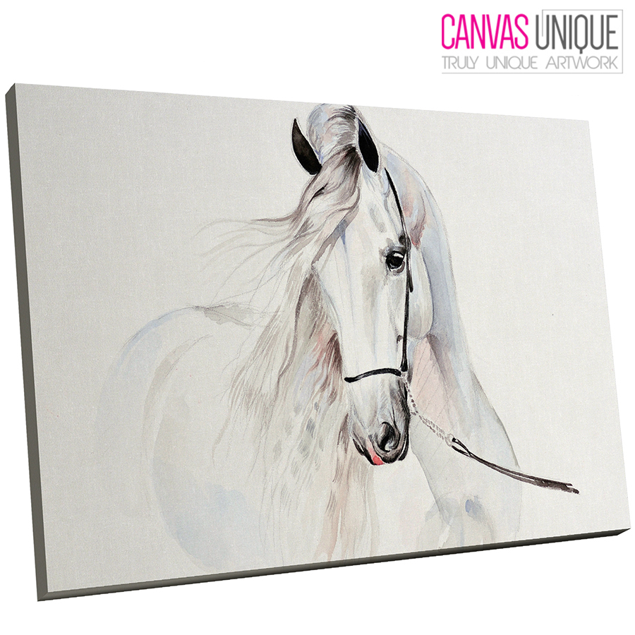 A657 White Abstract Horse Sketch Animal Canvas Wall Art Framed ...