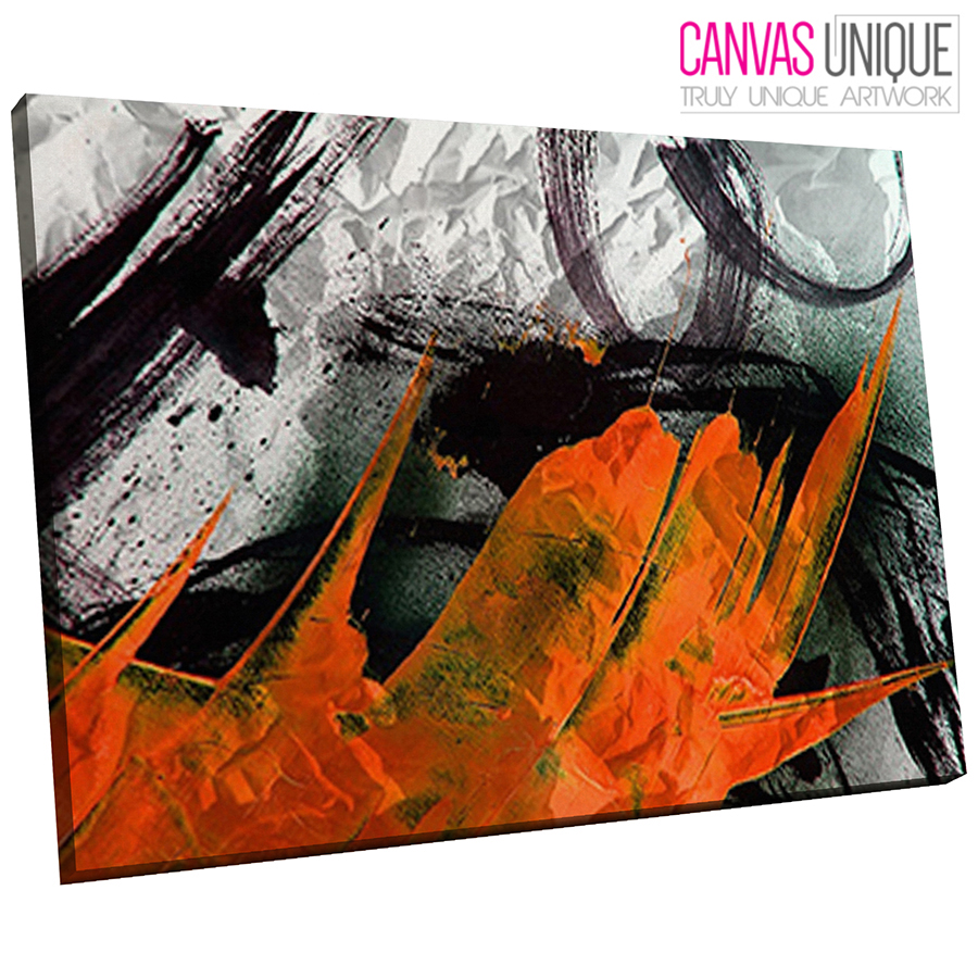 Details About Ab1093 Orange Black White Graffiti Abstract Wall Art Picture Large Canvas Print