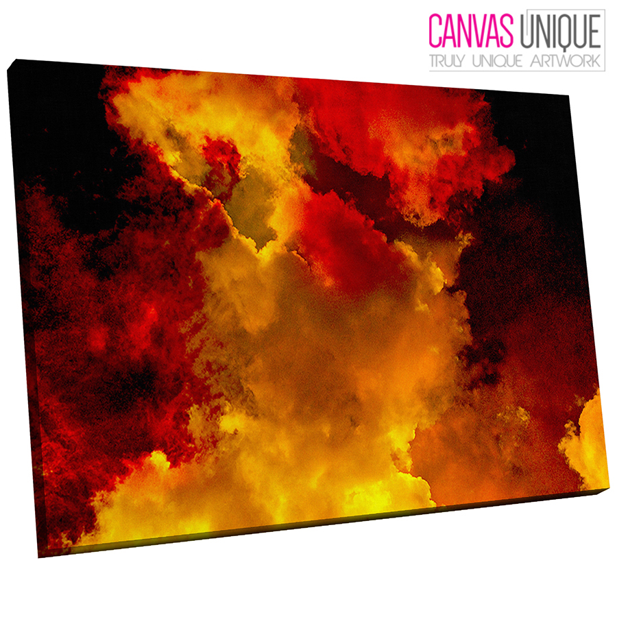AB1647 Orange rot clouds smoke Abstract Wall Art Picture Large Canvas Print