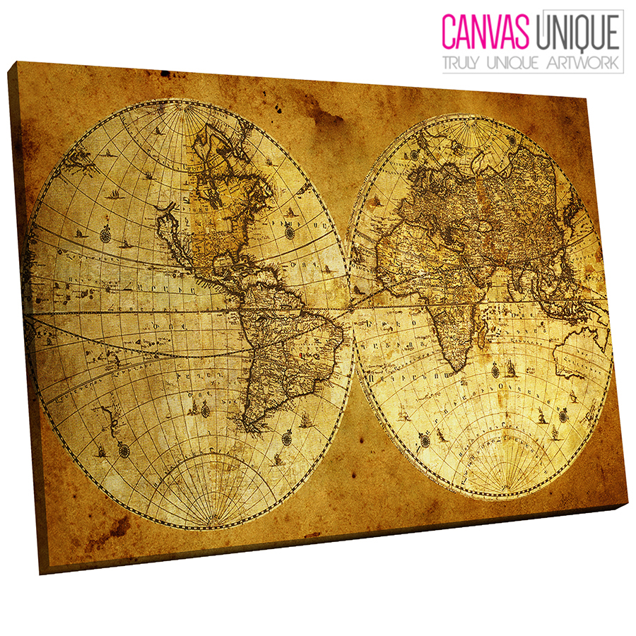 AB411 Old World Map Aged Look Abstract Canvas Wall Art Framed ...