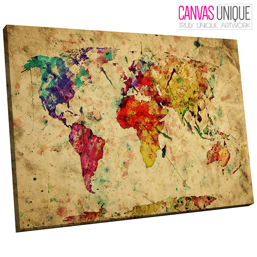 AB415 Old World Map Aged Look Abstract Canvas Wall Art Framed ...