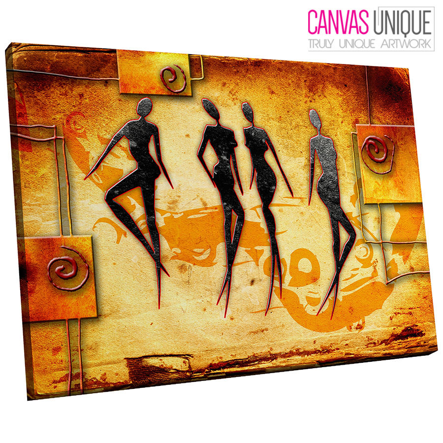 AB533 Orange African Style Modern Abstract Canvas Wall Art Framed ...