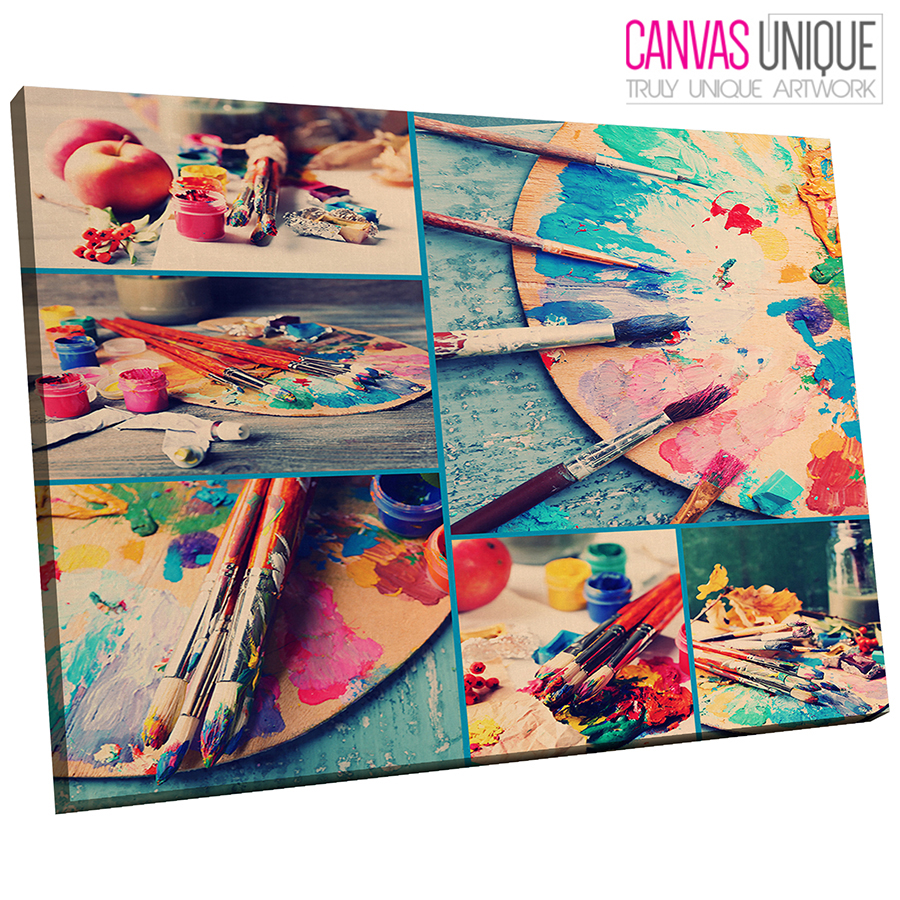 AB555 Blau Paint Modern Art Abstract Canvas Wall Art Framed Picture Print