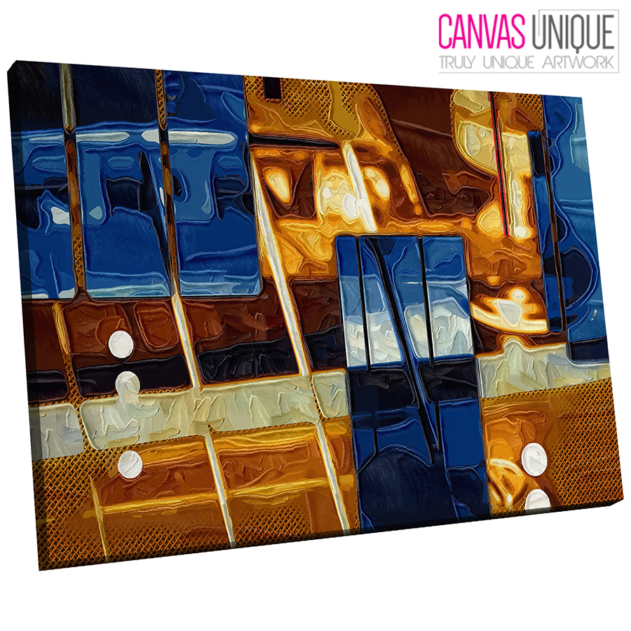 AB608 Blau Gelb Contemporary Abstract Canvas Wall Art Framed Picture Print