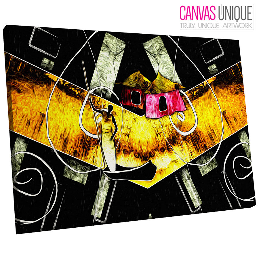 AB740 Gelb African Style Modern Abstract Canvas Wall Art Framed Picture Print
