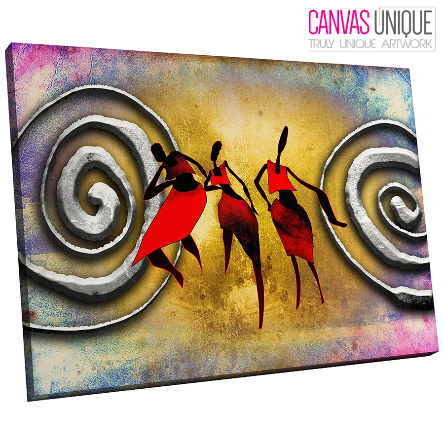 AB776 rot African Style Modern Abstract Canvas Wall Art Framed Picture Print