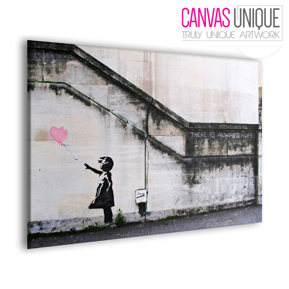 B38-Pink-Banksy-Balloon-Girl-Hope-Canvas-Wall-Art-Framed-Picture-Print