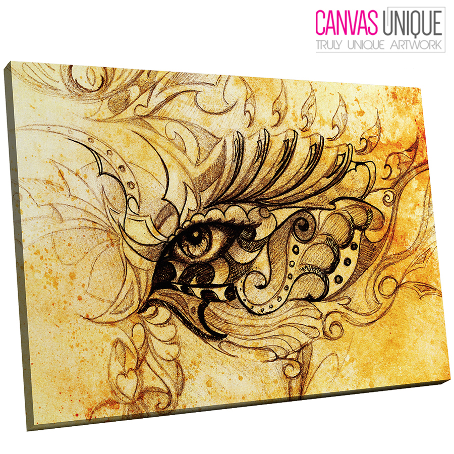 E193 yellow aged paper eye sketch Canvas Wall Art Framed Picture ...