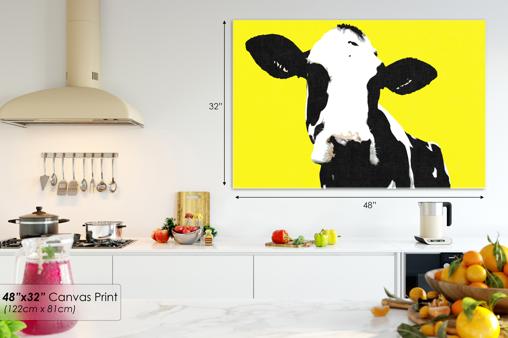 A021 yellow black cow popart farm Animal Canvas Wall Art Framed ...
