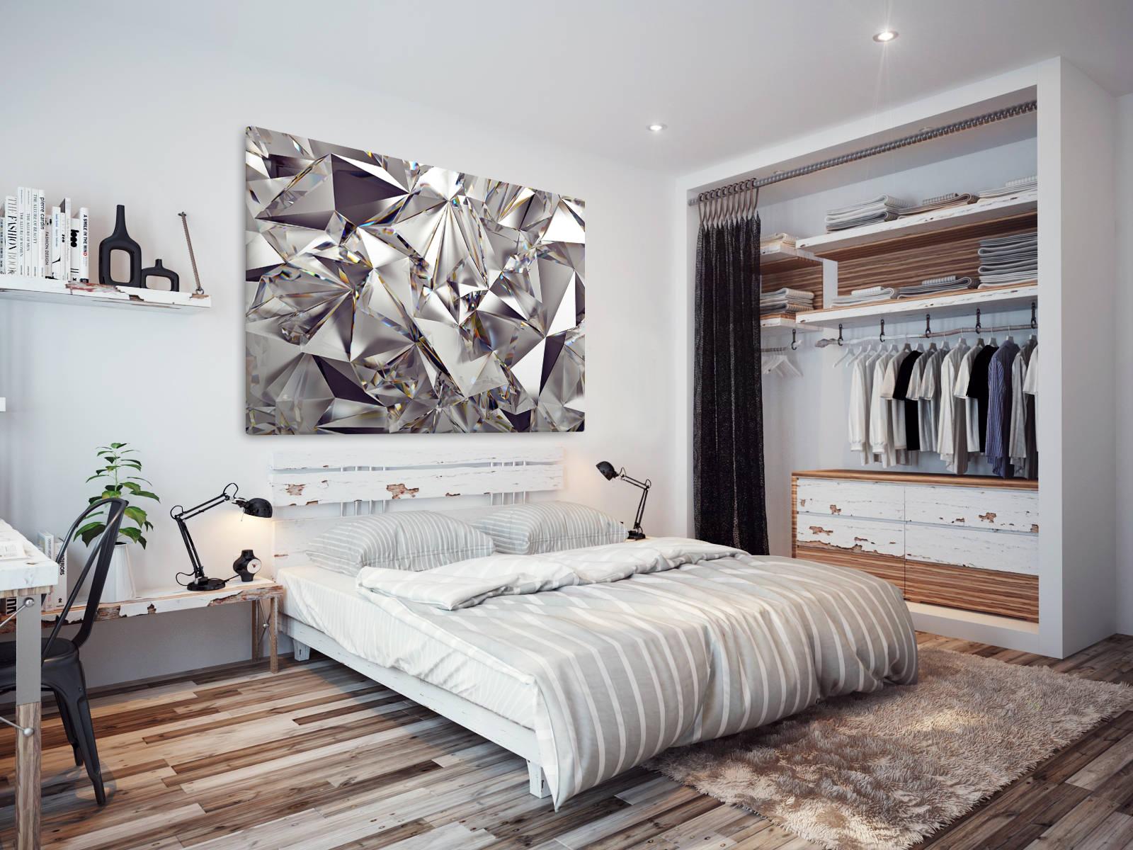 Ab1572 silver shiny diamond metal abstract wall art
