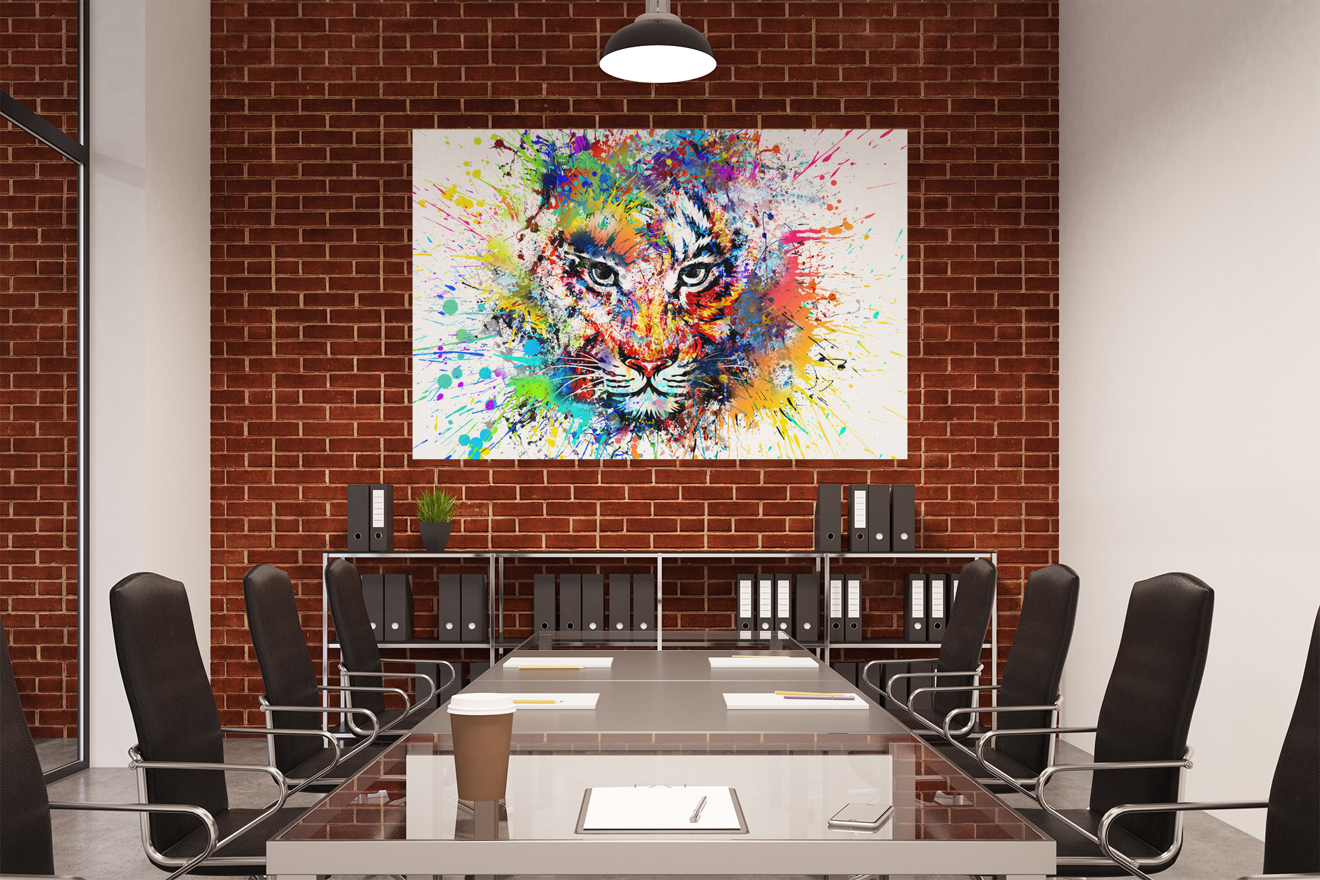 A723 MULTICOLOR TIGER Abstract Animal Canvas Wall Art Framed Picture Print