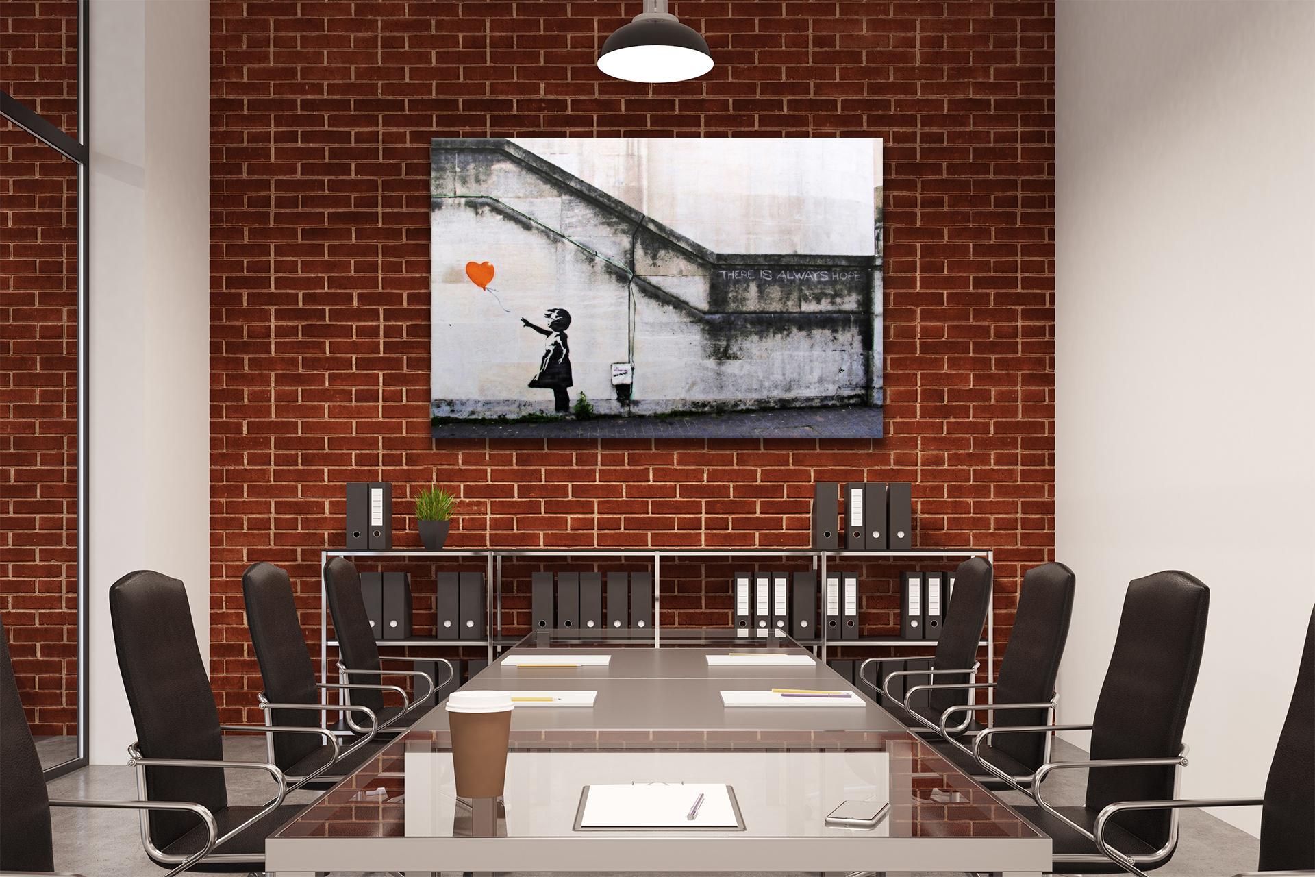 B36-Orange-Banksy-Balloon-Girl-Hope-Canvas-Wall-Art-Framed-Picture-Print thumbnail 4