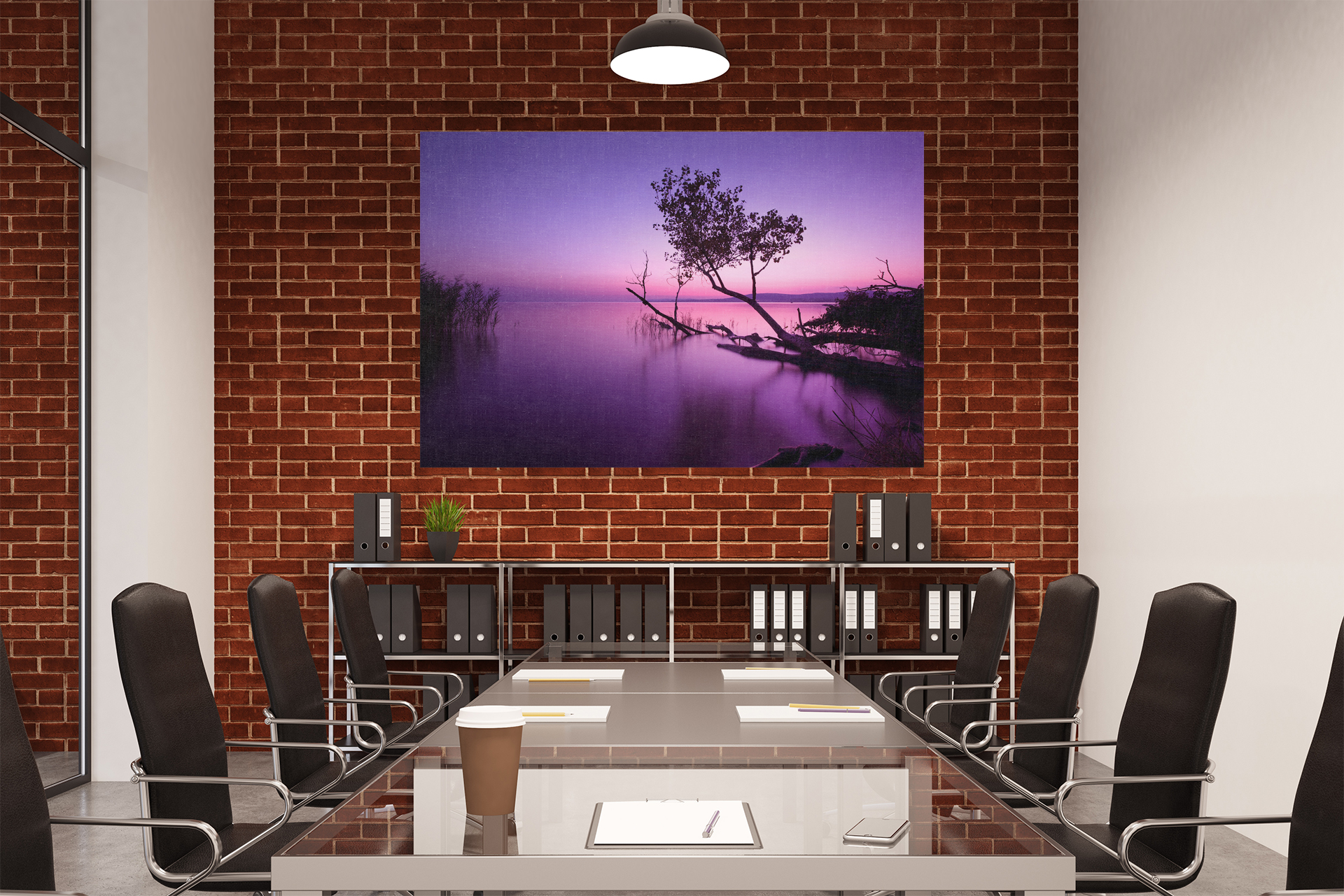 C336 Still Purple Ocean Canvas Wall Art Ready to Hang Picture Print