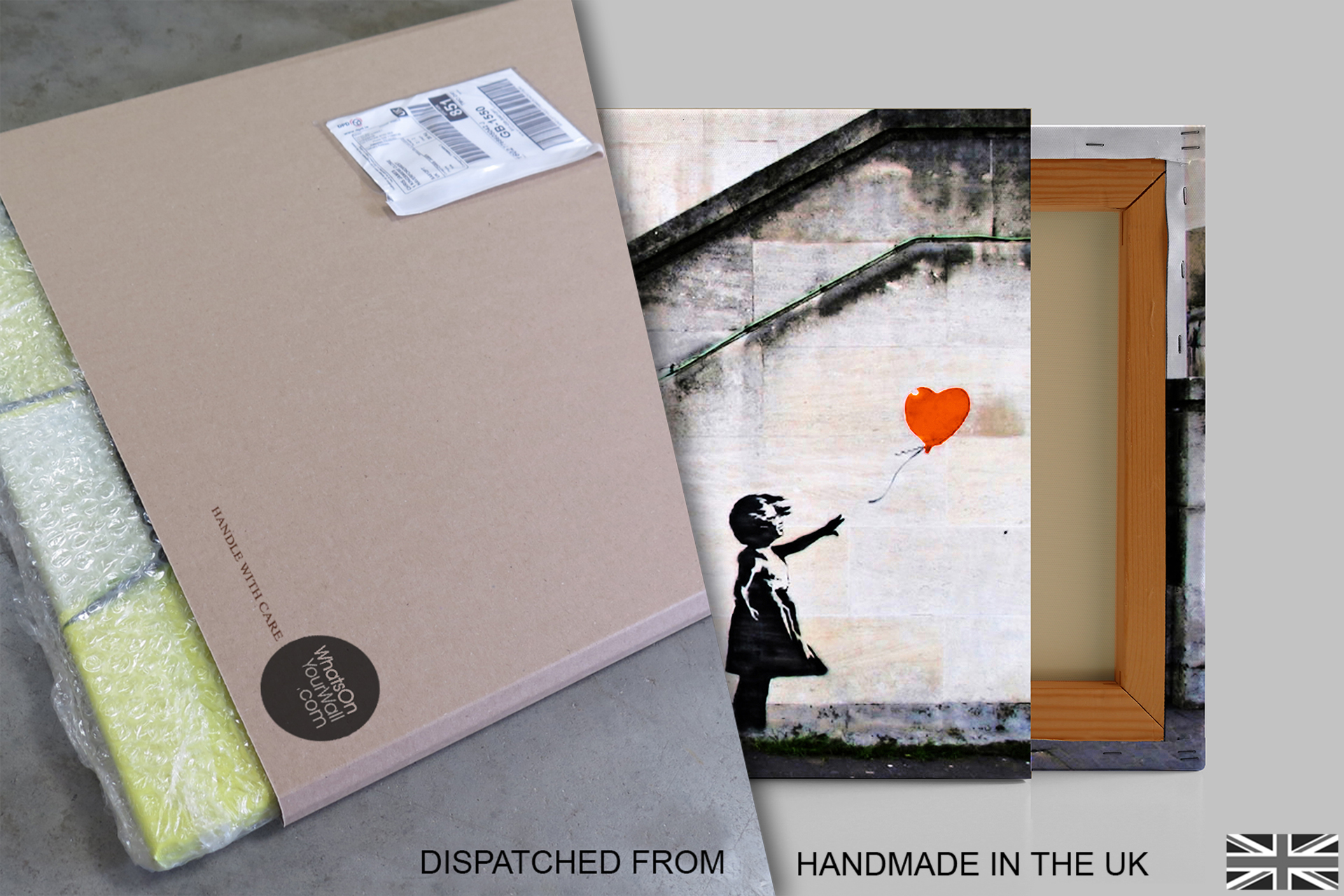 B36-Orange-Banksy-Balloon-Girl-Hope-Canvas-Wall-Art-Framed-Picture-Print thumbnail 5