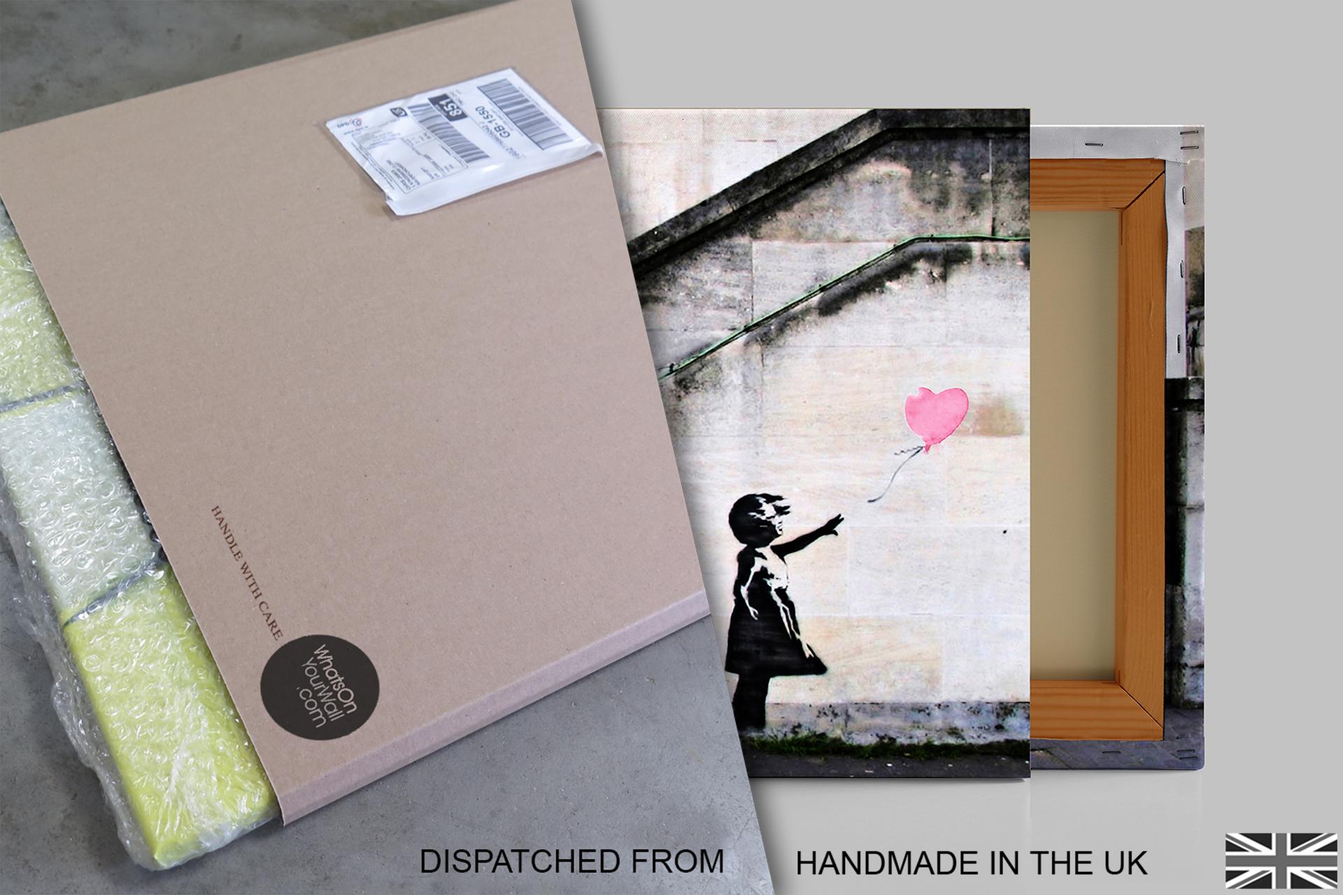 B38-Pink-Banksy-Balloon-Girl-Hope-Canvas-Wall-Art-Framed-Picture-Print thumbnail 5