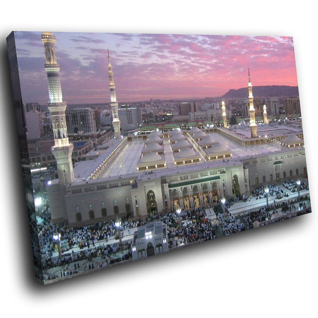 SC418 Mecca Madina Holy Land Scenic Wall Art Picture Large Canvas Print |  eBay
