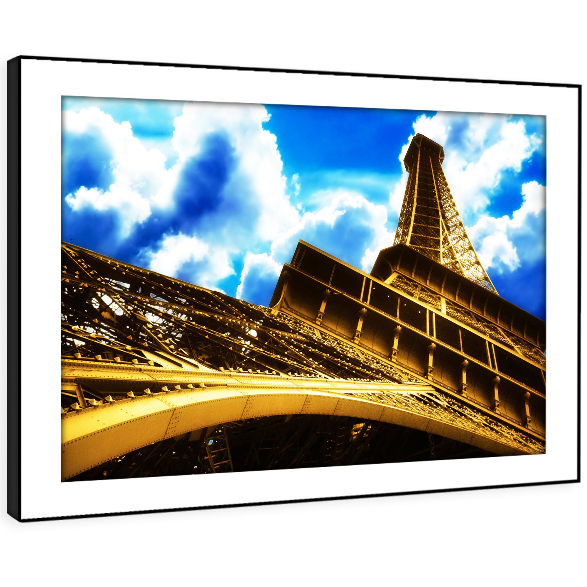 SC046 Eiffel Tower Paris Blau Cool Landscape Framed Wall Art Large Picture Print