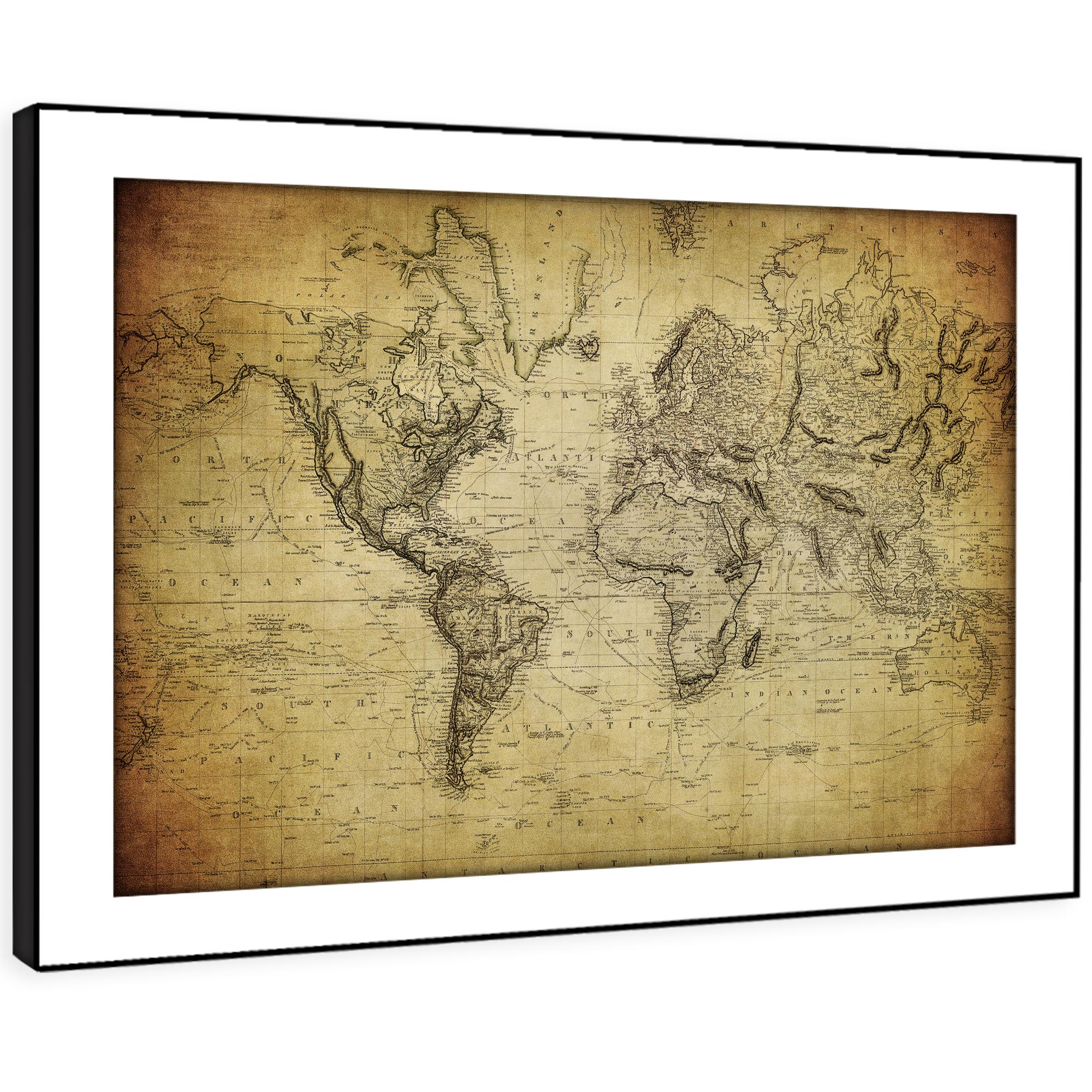 SC355 Vintage Retro World Map  Landscape Framed Wall Art Large Picture Prints