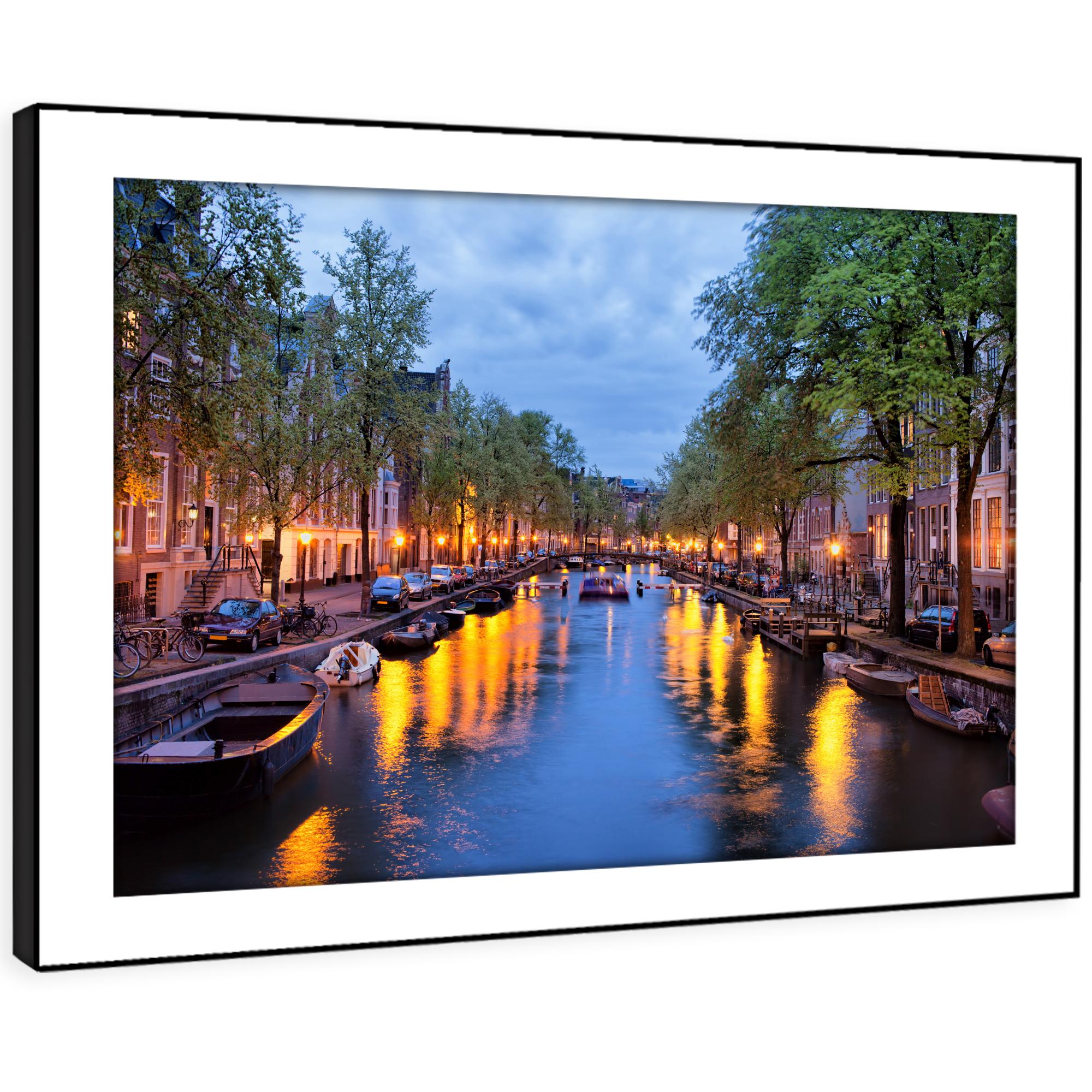 SC375 Amsterdam Blau Orange Night Landscape Framed Wall Art Large Picture Prints