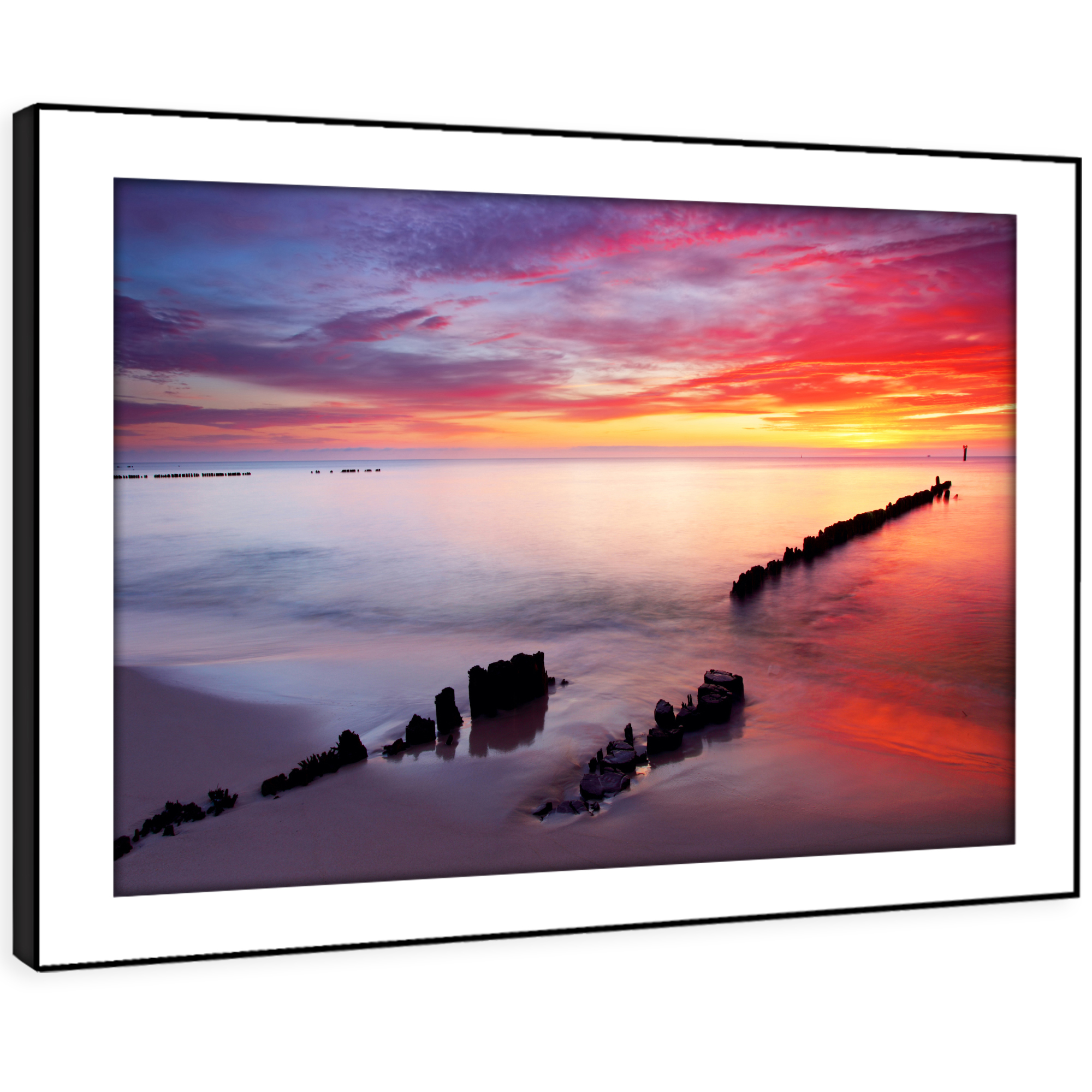 SC434 lila rot Gelb Beach Sunset Nature Framed Wall Art Large Picture Prints