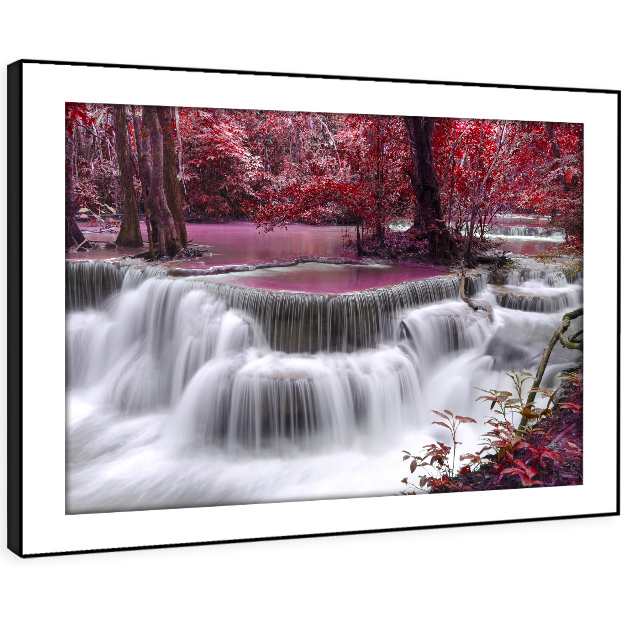 SC446 lila Waterfall Forest Nature Landscape Framed Wall Art Picture Prints