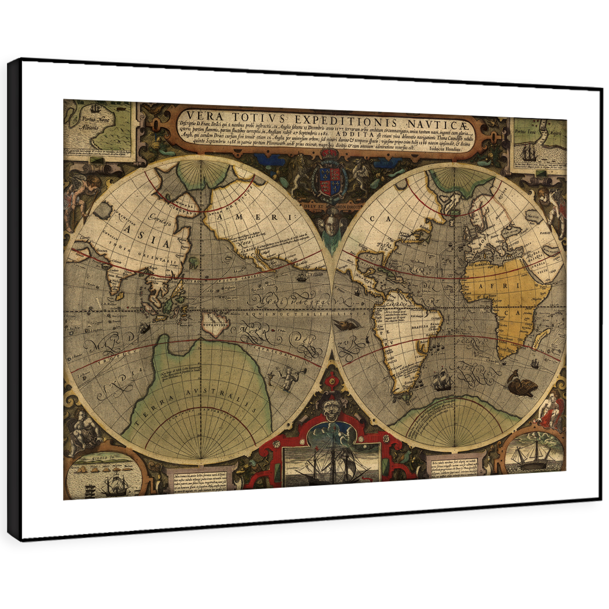 Vintage World Map Art.Sc599 Retro Vintage World Map Cool Landscape Framed Wall Art Large