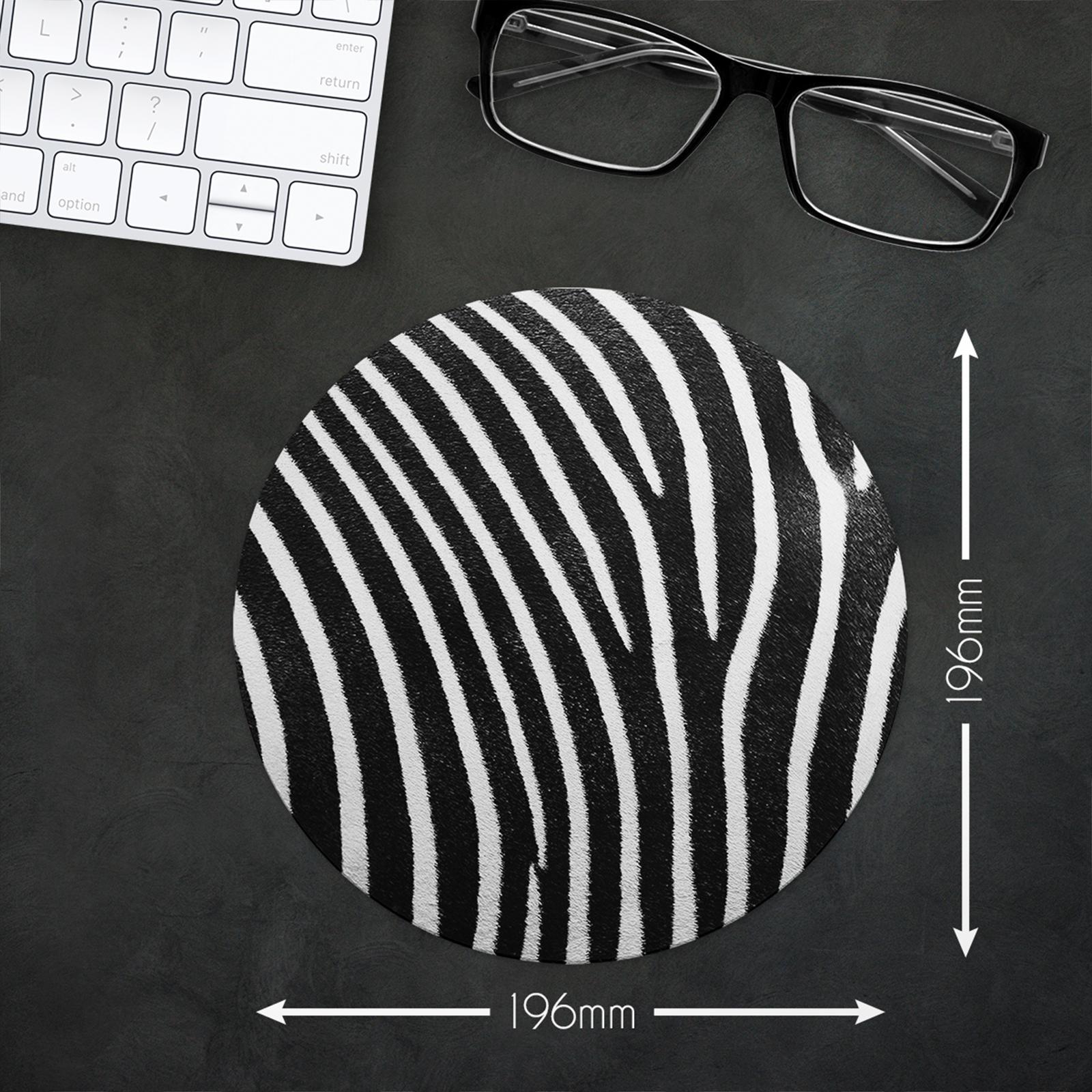 Round Black White Zebra Stripe UK Non Slip Mouse Mat Pad PC Laptop Gaming