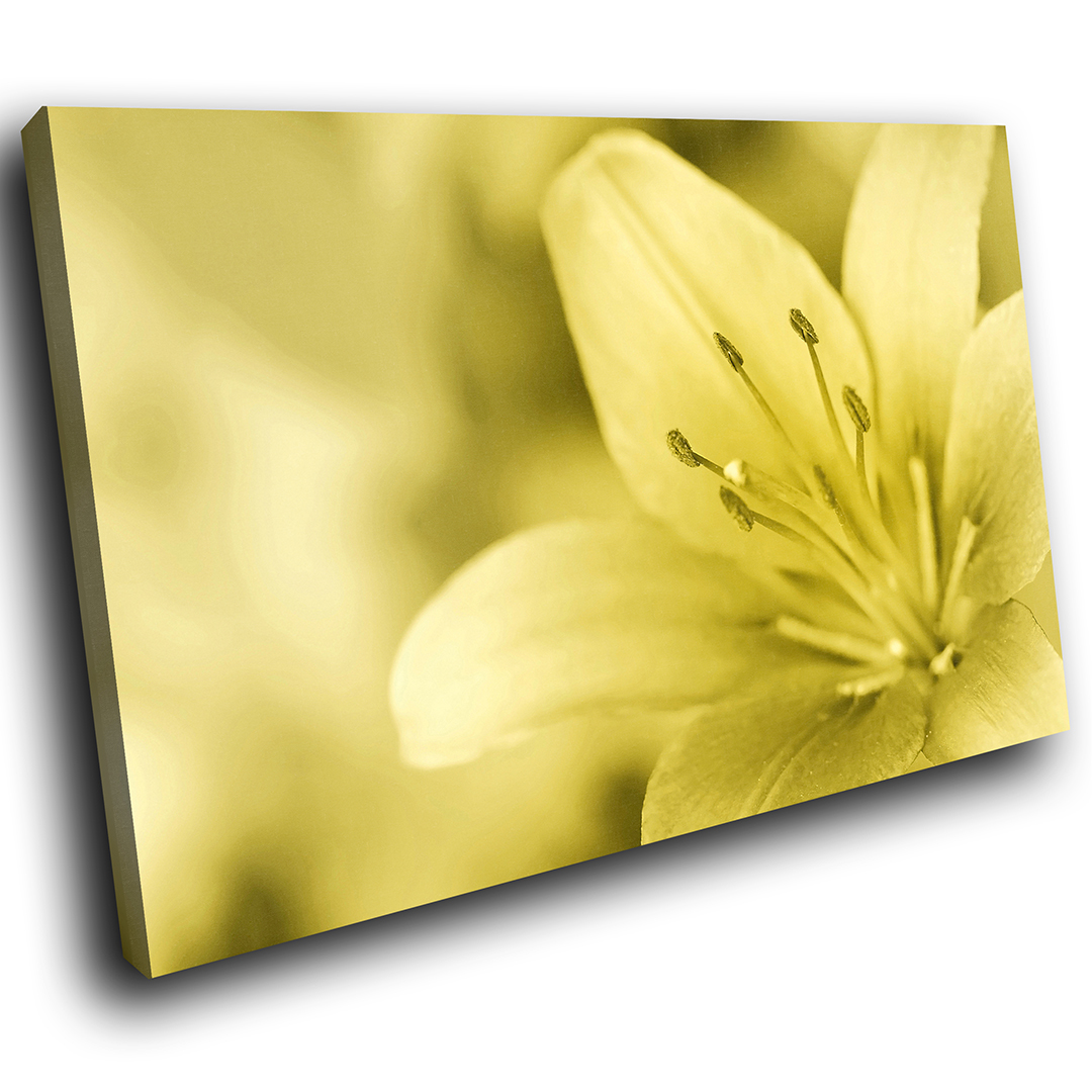 ZAB114 Yellow Lily Flower Modern Canvas Abstract Home Wall Art ...