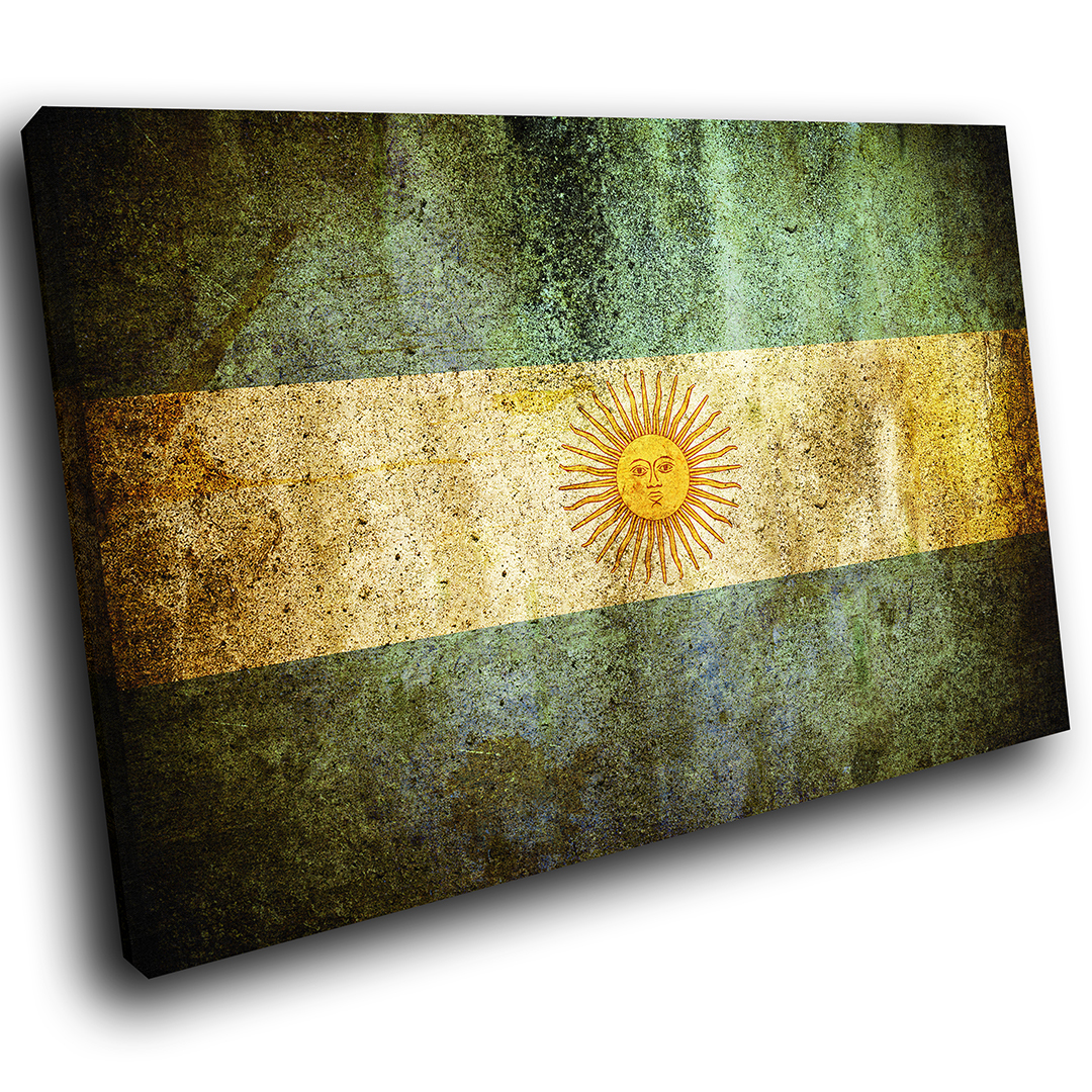 ZAB151 Argentina Flag Retro Modern Canvas Abstract Home Wall Art ...