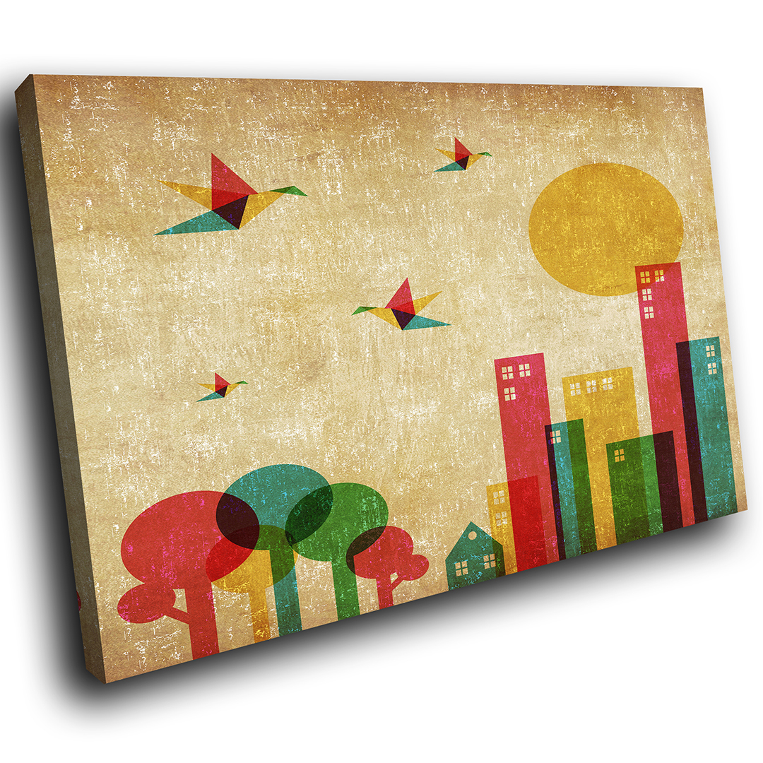 ZAB332 Red Pink Yellow City Modern Canvas Abstract Home Wall Art ...