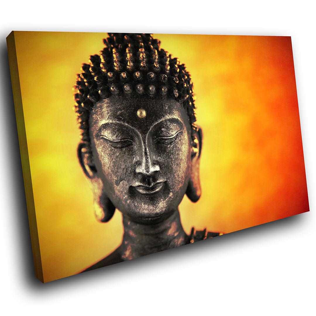 ZAB344 Orange Red Buddha Modern Canvas Abstract Home Wall Art ...