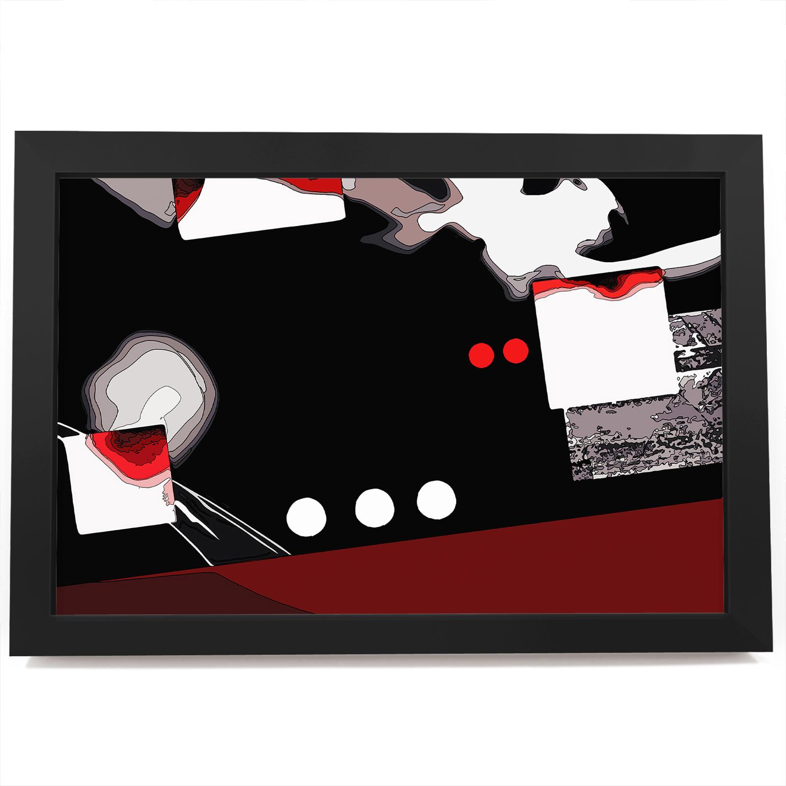 BF1AB593 Rot Schwarz Weiß Grau Modern Abstrakt Gerahmt Wand-Kunst ...
