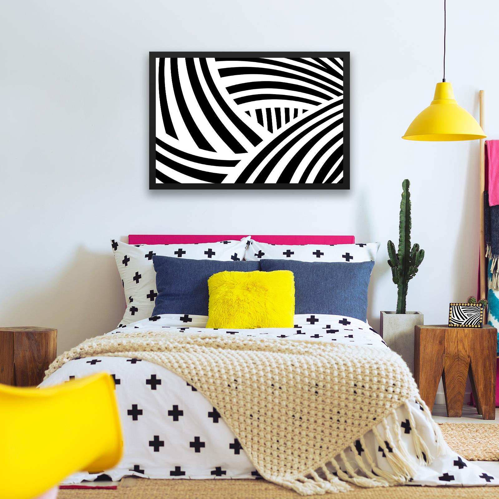BF1AB637 BLACK WHITE Stripes moderne abstrakte gerahmte Wand-Kunst ...