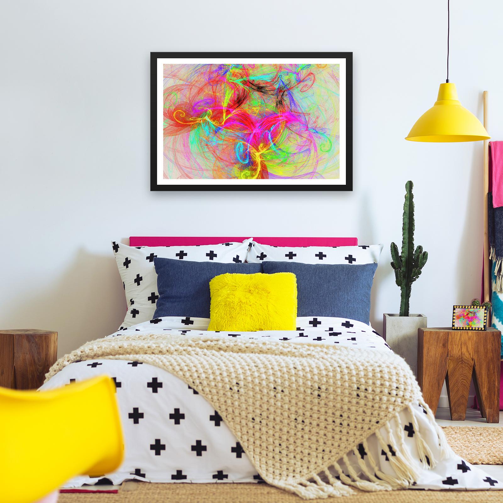 BF2AB1764 RETRO BUNT Cool moderne abstrakte gerahmte Wand-Kunst-Bild ...