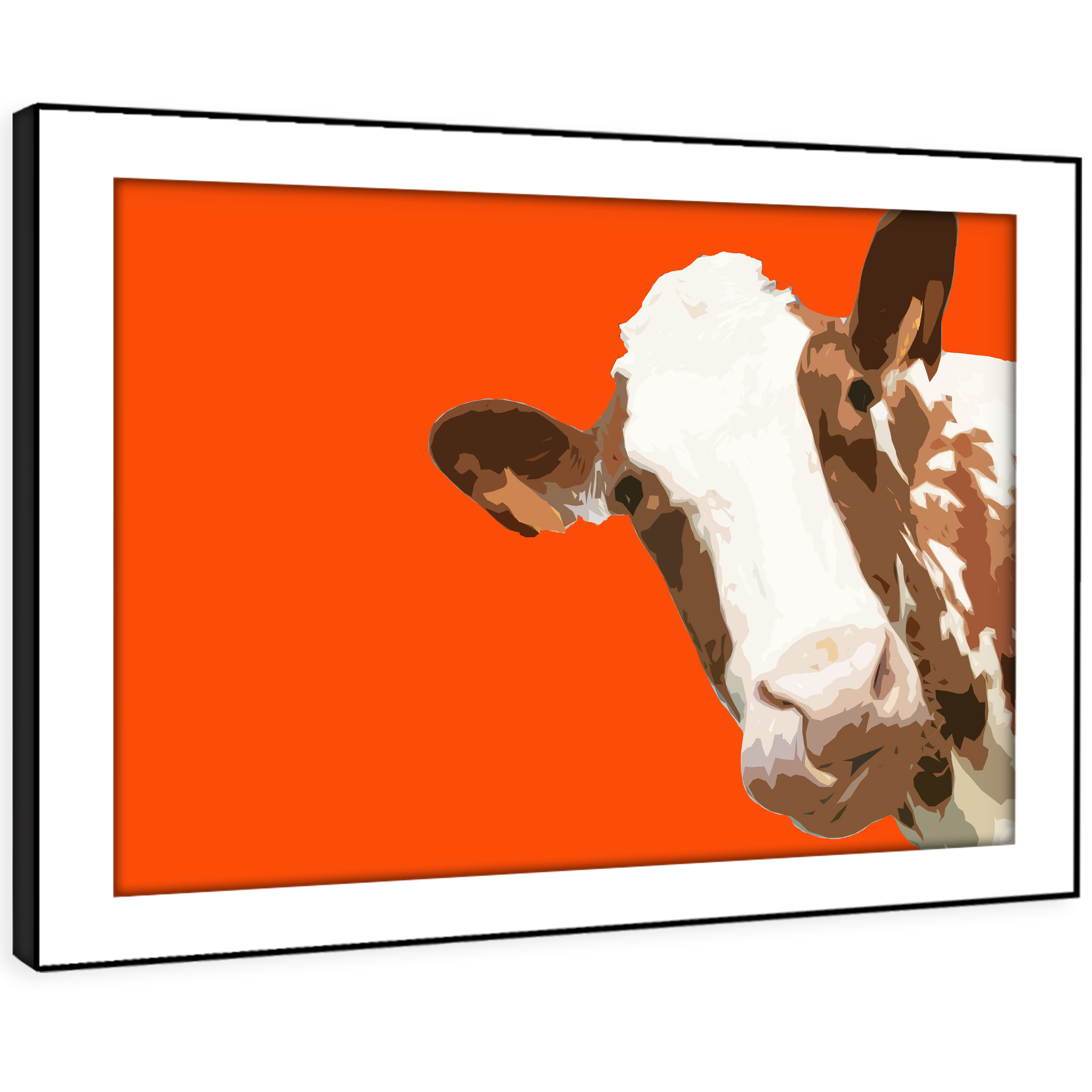 A006 Orange Abstract braun Cow Funky Animal Framed Wall Art Large Picture Prints