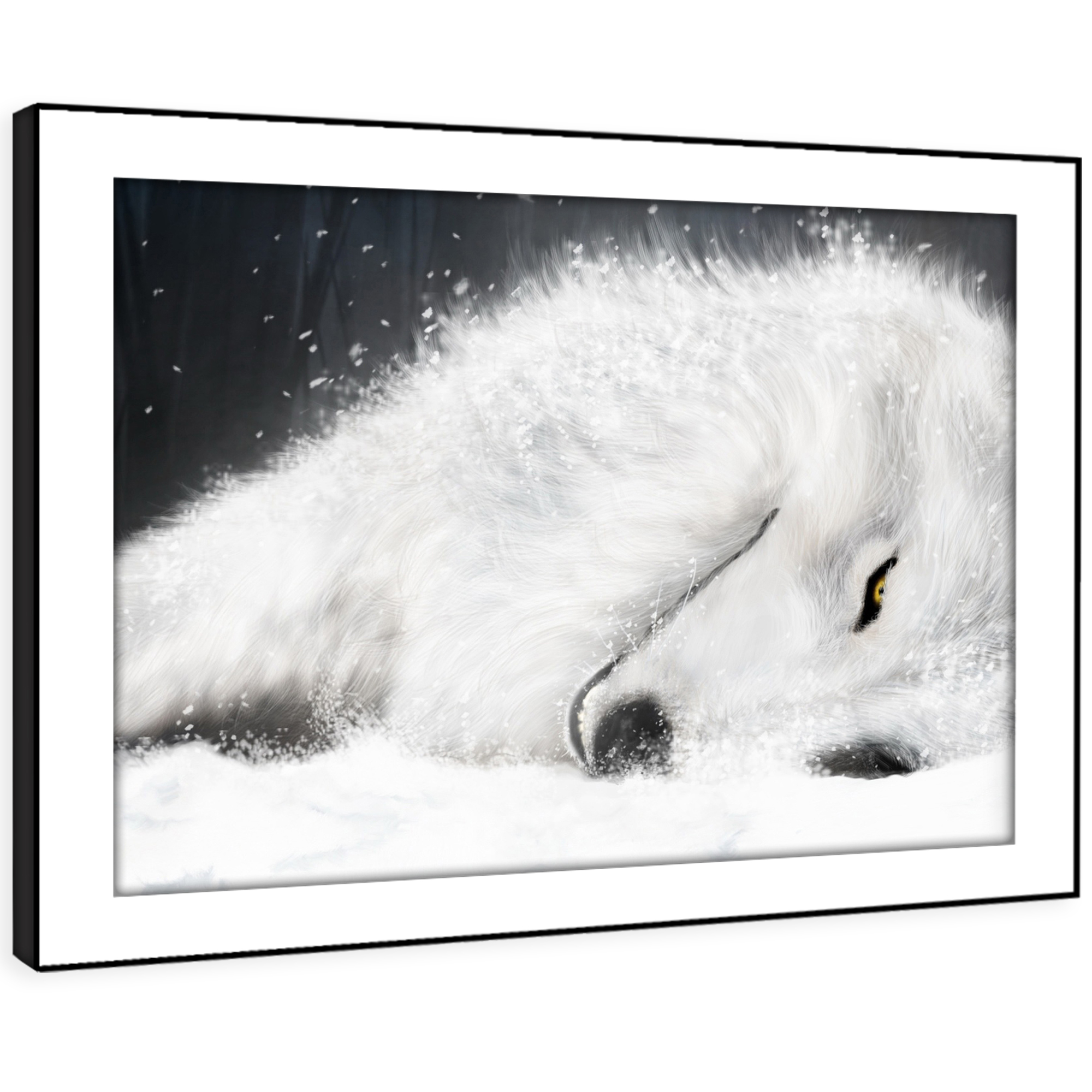 A163 Weiß Winter Wolf Snow Funky Animal Framed Wall Art Large Picture Prints