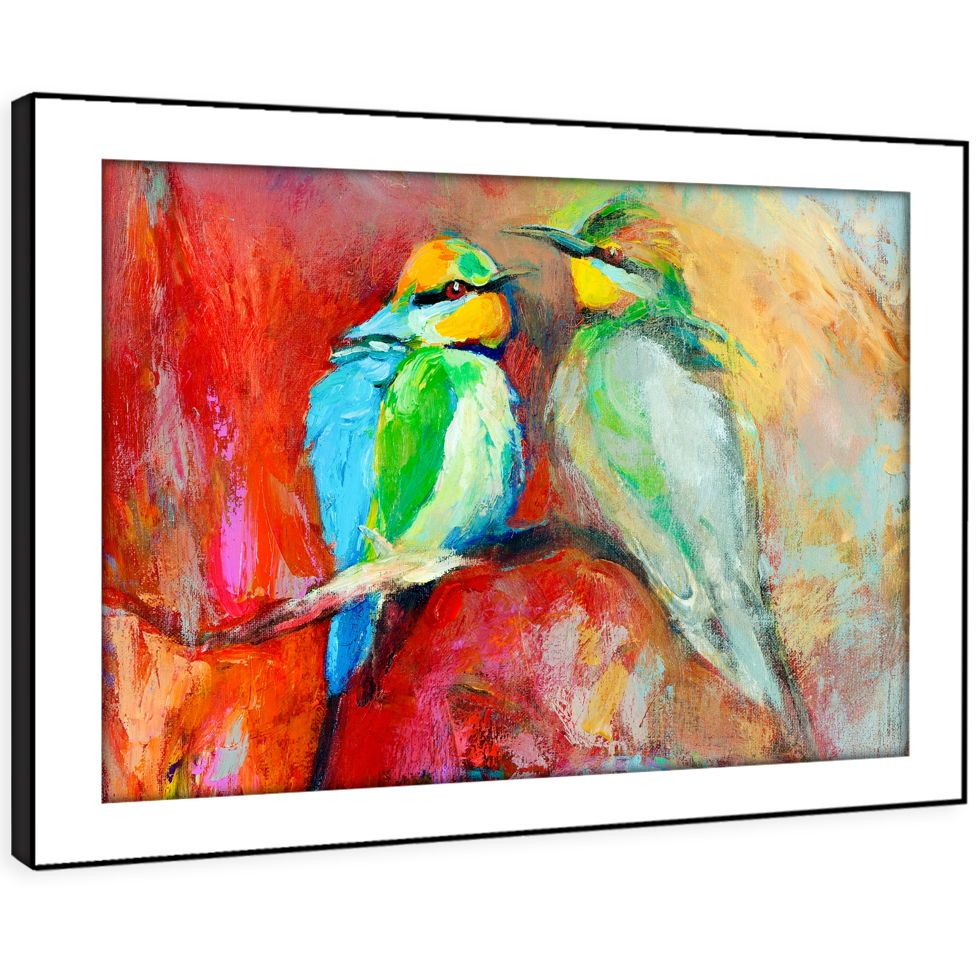 A223 Blau rot Birds Abstract Funky Animal Framed Wall Art Large Picture Prints