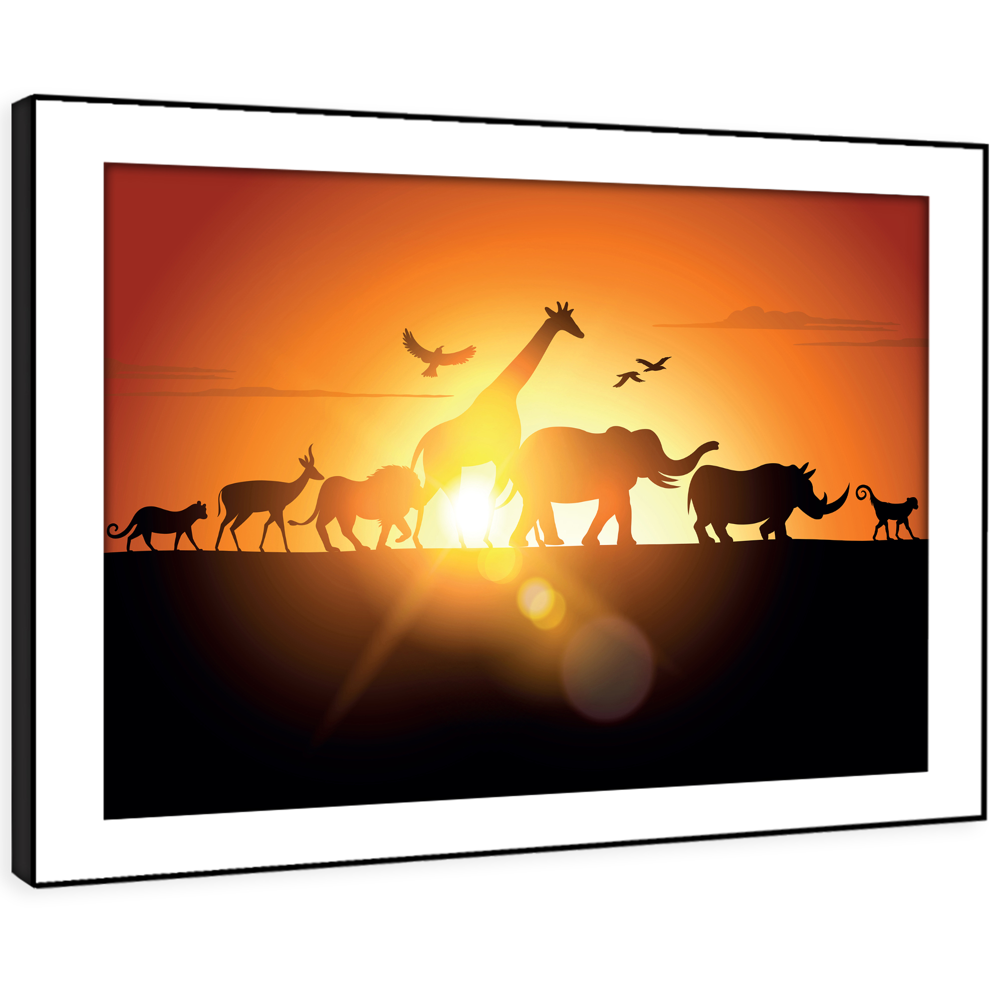 A230 African Sunset Silhouette Funky Animal Framed Wall Art Large Picture Prints