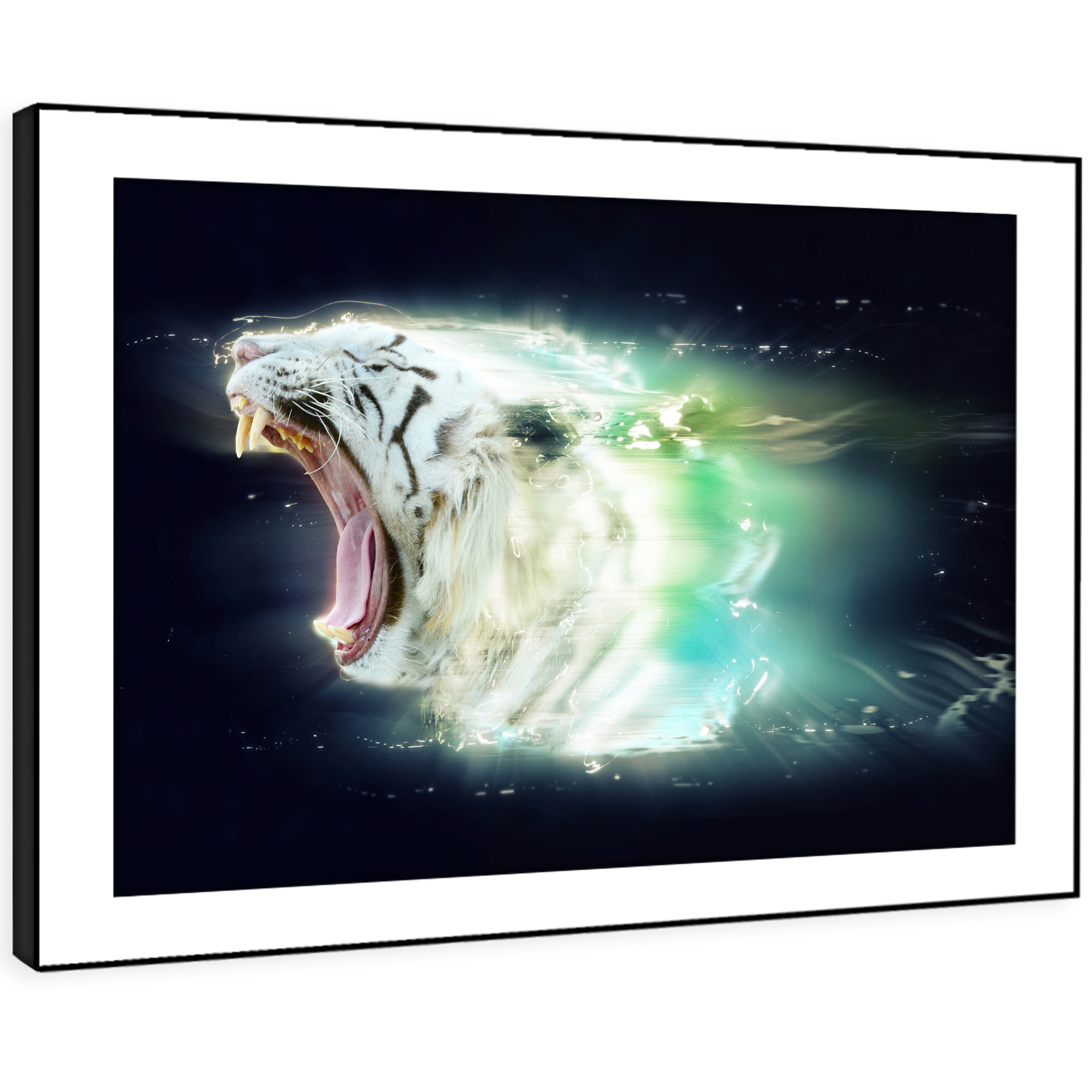 A426 Weiß Tiger Teal Lighting  Funky Animal Framed Wall Art Large Picture Print