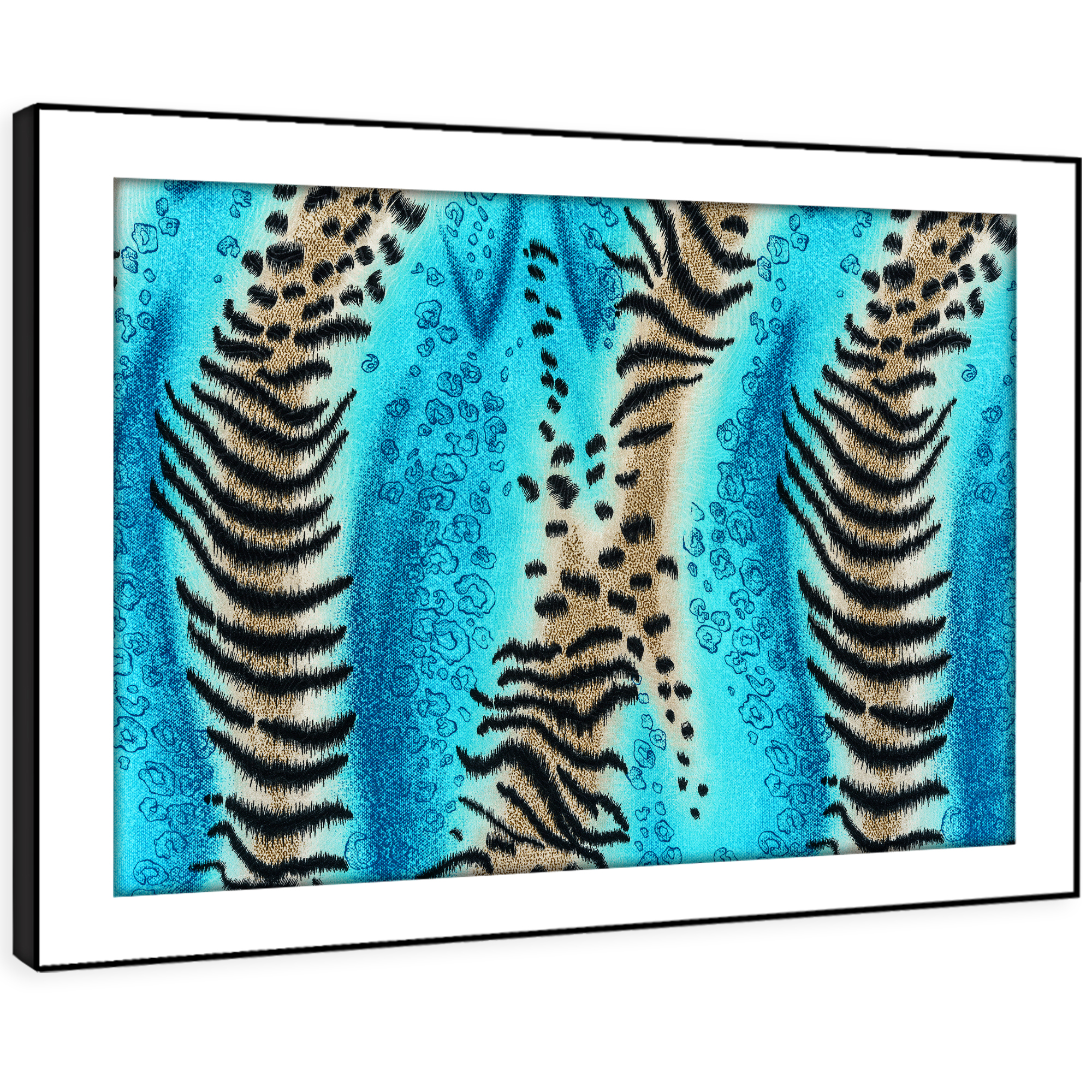 A444 Teal Tiger Fur Pattern Funky Animal Framed Wall Art Large Picture Prints