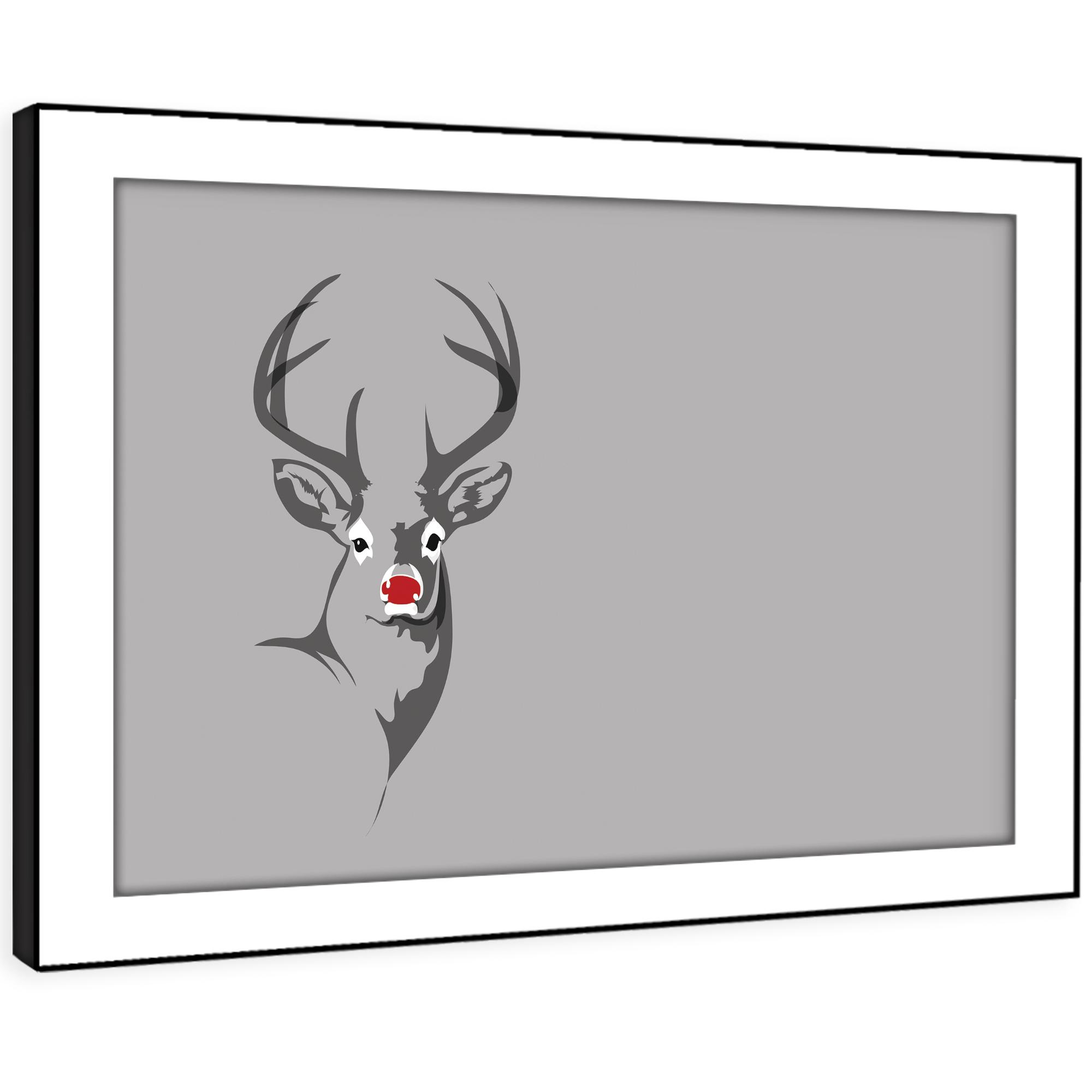 A482 grau Stag Deer grau rot Funky Animal Framed Wall Art Large Picture Prints