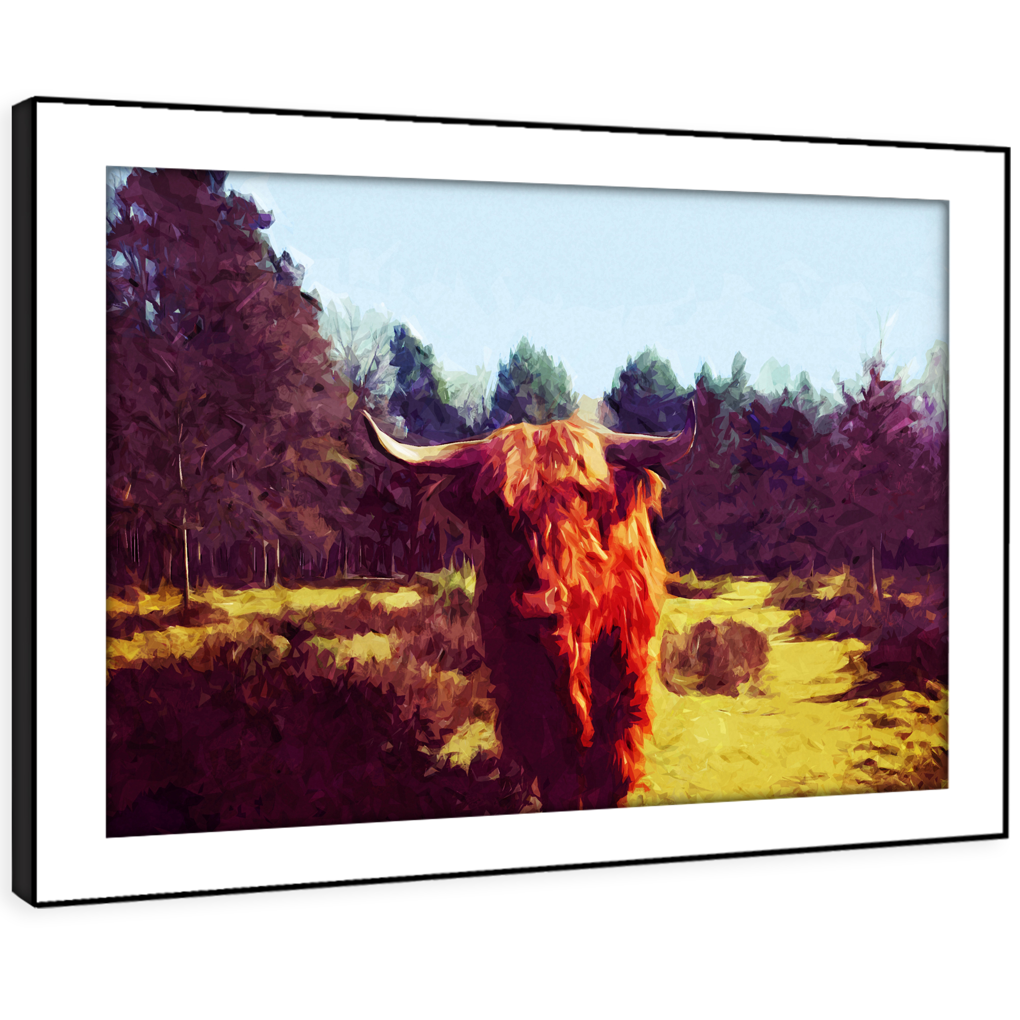 A727 Orange Bull Cow Grün rot Funky Animal Framed Wall Art Large Picture Prints